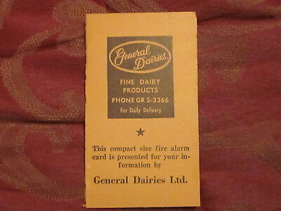 General Dairies Fredericton Fire Alarm Card Pocket size