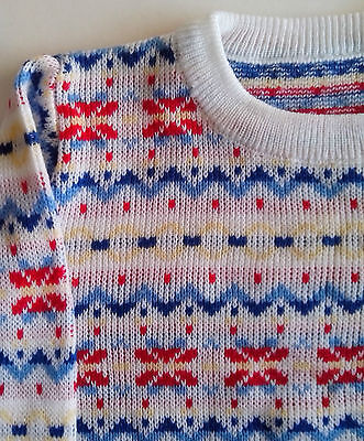 Fair Isle long sleeve Jumper  size:12/18 month 1970s white red blue yellow