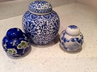 3 Vintage Blue and White Chinese Small Ginger Jar