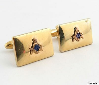 Blue Lodge Cufflinks - Gold Toned Men's Masonic Jewelry Square and Compass