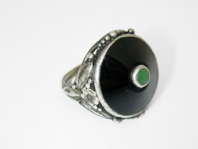 Vintage Late Victorian Onyx & Jade Sterling Flowers & Leaves Ring, Sz. 5.5
