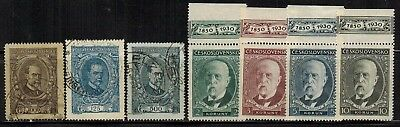 Czechoslovakia #61-63,175-178 Complete Sets 1920-30 Used/MLH