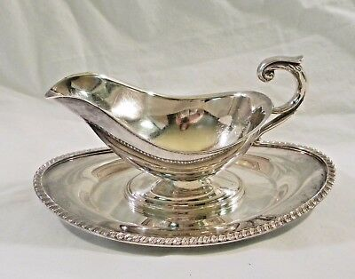 CRESCENT Silver Plate Gravy Sauce Boat Bowl w Attached Underplate 3158RS