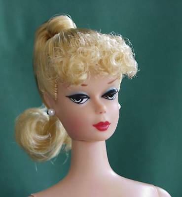 IMPERFECT #1 BLOND BARBIE PONYTAIL CURLY BANGS WHITE IRISES Vintage Reproduction