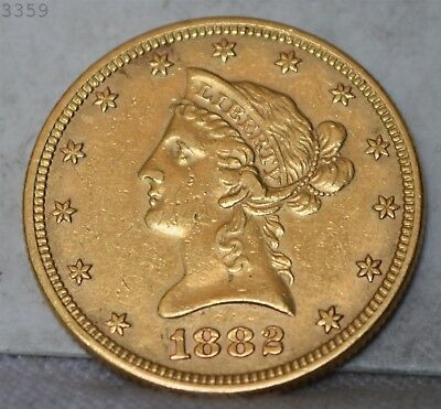 "1882 Liberty Head Gold Eagle ""AU"" *.48375oz pure gold* *Free S/H After 1st Item*"