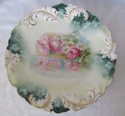 Fancy Antique R.S. Prussia Plate Roses W/ Pond Feather Plume Edge Gold Trim 8.5""