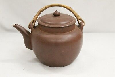 Chinese Yixing Speared Lidded Dark Clay Traditional Pottery Teapot signed