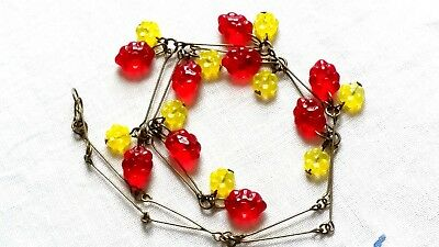 Czech Grape And Flower Glass Bead Necklace Vintage Deco Style