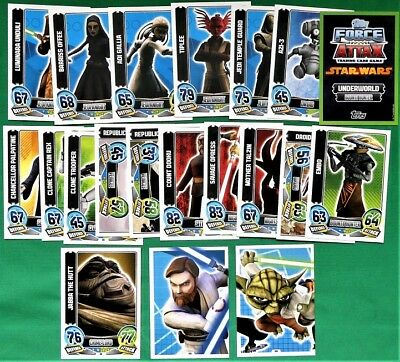 20 Star Wars Force Attax Series 5 Trading Cards Green Border (Animation) Topps