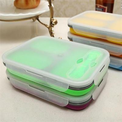 COLLAPSIBLE 3 Compartment LUNCH BOX FOOD STORAGE CONTAINER with SPORK Z