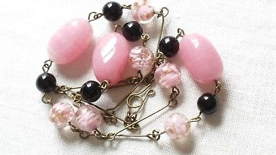 Pink Murano Glass Bead Necklace Vintage Deco Style