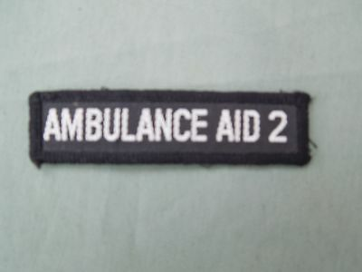 Obsolete Ambulance Aid 2 Embroidered Badge