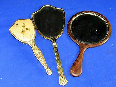 3 Antique Vanity Hair Brush w/Roses,Wood Framed Mirror & Gold Tone Hand Mirror