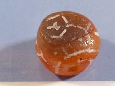 ANCIENT KUSHAN-PERSIAN ETCHED CARNELIAN TABULAR BEAD 16 BY 11 MM c/o pumtekman