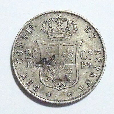 PHILIPPINES -Spanish Colony-  20 Centavos 1884 -Chinese Chopmarks- Silver SCARCE