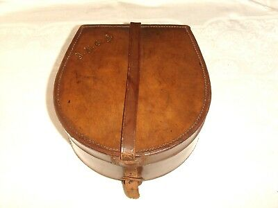 Vintage Tan Leather Collar Box ~ with collars
