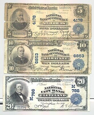 Series 1902 $5, $10 and $20 Plain Back National Banknotes no reserve