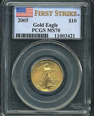 2005 $10 Gold Eagle Pcgs Ms70 First Strike
