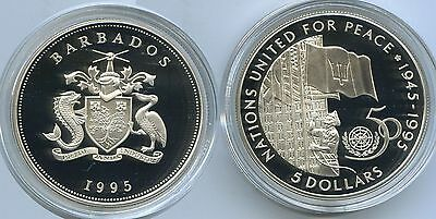 G0330 - Barbados 5 Dollars 1995 KM#62a Silber PROOF RAR United Nations