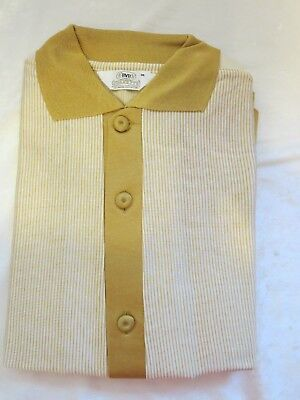 vintage BVD Chevette mens shirt jac gold white stripes Medium NOS NEW