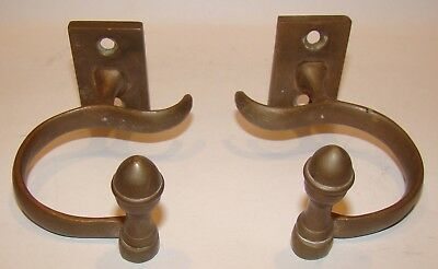 Antique Brass Pair FIREPLACE JAMB HOOKS for Tools bee hive screw on finials