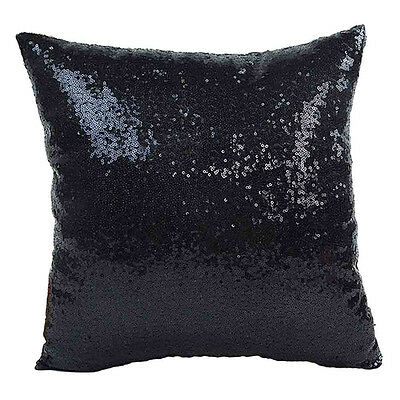 Solid Color Glitter Sequins Throw Pillow Case Cafe Home Decor Cushion Covers BK