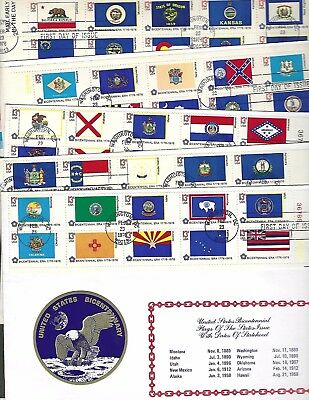 United States (1976) 50 State Flags On Fdc's - With Metal Ornament