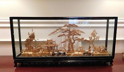 """Vintage Chinese San You Diorama Cork Carving Large Glass Case Pagoda Storks 23"""""""