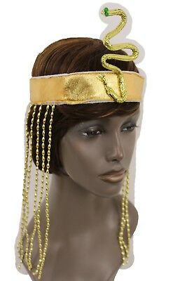 f539d3abc2b Women Long Beads Band Forehead Fashion Head Snake Cleopatra Costume Gold  Sequins