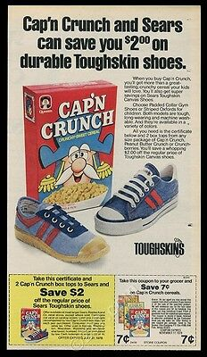 1978 Cap'n Crunch cereal Sears Toughskins shoes photo vintage print ad