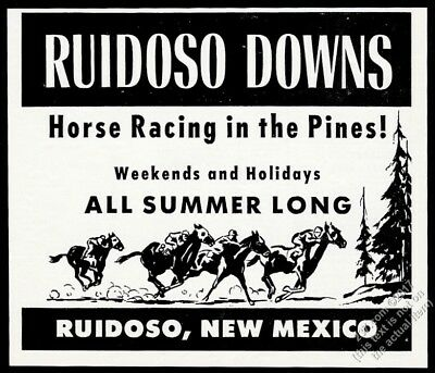 1953 Ruidoso Downs horse racing race travel art New Mexico vintage print ad
