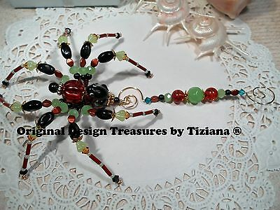 Treasures byTiziana® Tropical Rain Forest Lampwork Black Frog Love Pet Spider