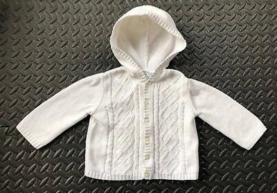 Janie And Jack Cardigan Sweater Hood Cable Knit White Girl 12-18 Month Baby