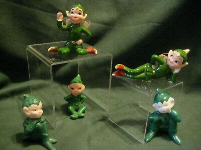 KREISS vtg ceramic ELF Elves LOT pixies fairy wings green Christmas figurines