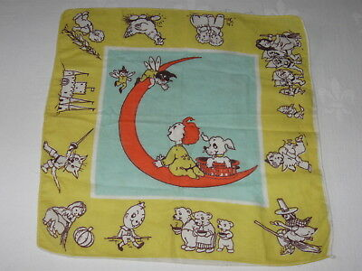 Vintage Childrens Cotton Hanky Nursery Rhyme Puss in Boots 3 Bears Humpty Dumpty