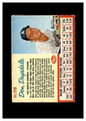 1962 Post Set Break #110 Don Drysdale EX-EXMINT M06762