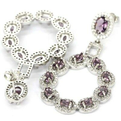 Wonderful Amethyst, White CZ Wedding Party Silver Earrings