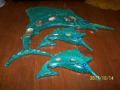 * Cool Green Vintage Lucite Glitter Abalone Marlin Fish Wall Decor Set....