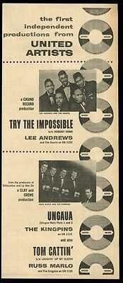 1958 Lee Andrews and the Hearts The Kingpins photo UA records trade print ad