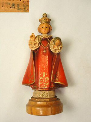 "Vtg ANRI Hand Carved Wood Jesus Infant of Prague Statue Icon 3 1/4"" Italy"