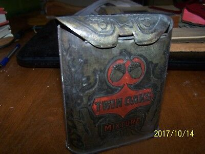 * Old Unique Collectible Twin Oaks Mixture With Acorns Tobacco Tin....