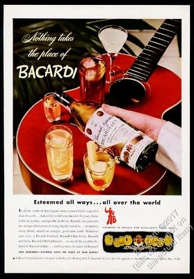 1944 Bacardi rum red guitar and bottle photo vintage print ad