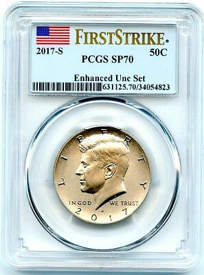 2017-S Kennedy Half, 225th Anniv Enhanced Mint Set, PCGS SP-70 First Strike!