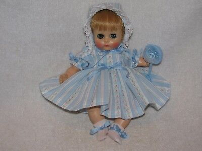 "8"" Vintage Vogue Ginnette Baby Doll With Cloth Body Dressed Cute"