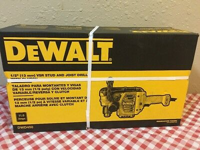 "DEWALT DWD450 11 Amp 1/2"" Stud and Joist Drill W/ Clutch (NEW FACTORY SEAL)"