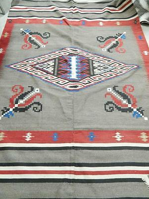 Late Classic Saltillo Mexican Center Seam Serape Blanket - Mus Qlty