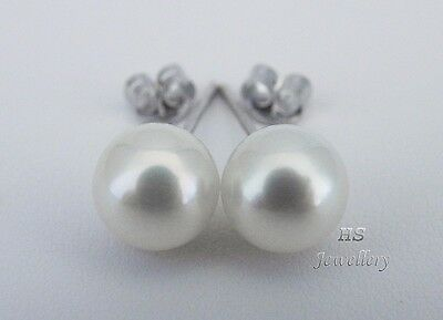 HS 8mm Japanese Akoya Cultured Pearl Stud Earrings 14K Yellow/White Gold Top