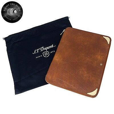 S.T. Dupont D Line Llg Shoot The Moon Executive Brown Leather Conference Pad