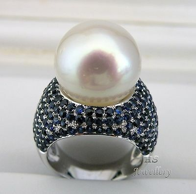 HS Gem Quality South Sea Cultured Pearl 15.35mm & Sapphire 5.638ctw 18KWG Ring