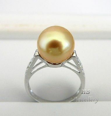 HS Rare Golden South Sea Cultured Pearl 11.25mm & Diamond .30tcw 18KWG Ring Top